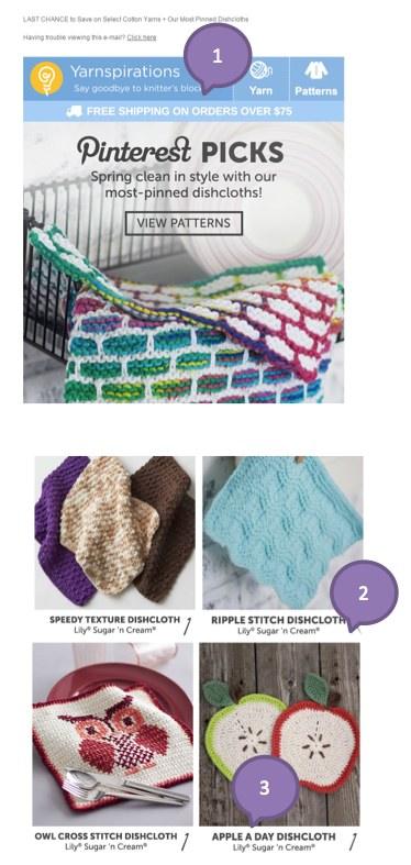 Eradium ecommerce email marketing-weekly-spotlight-4-product showcase Yarnspirations