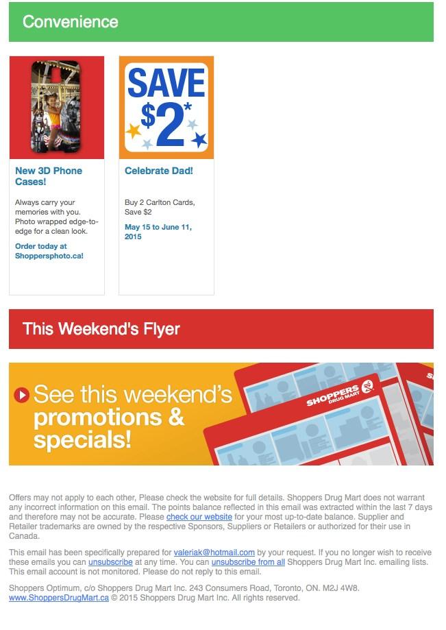 Eradium recommender system-blog-shoppers-drug mart email 4