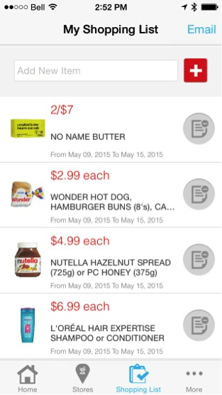 Eradium recommender system-blog-shoppers-drug mart mobile app shopping list