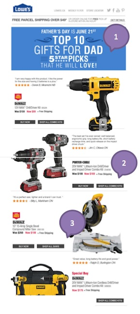 Eradium ecommerce email campaign blog 11 fathers day Lowes-1