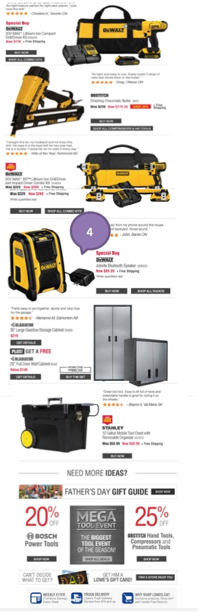 Eradium ecommerce email campaign blog 11 fathers day Lowes- 2