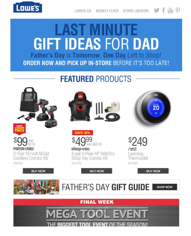 Eradium ecommerce email campaign blog 11 fathers day Lowes-omnichannel