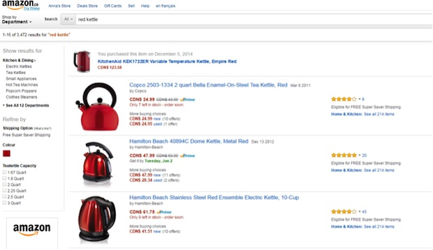 On site search in ecommerce Amazon