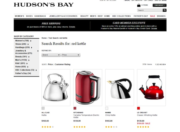 On site search in ecommerce blog Hudson Bay The Bay