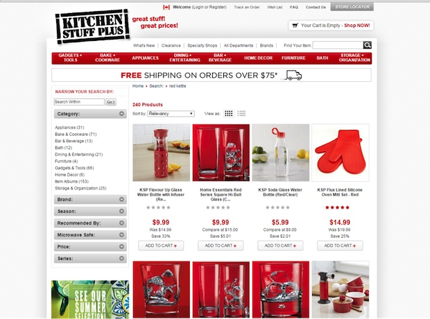 On site search in ecommerce blog Kitchen Important
