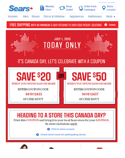 Eradium ecommerce email-marketing Canada Day Sears