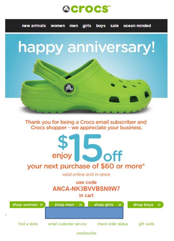 Eradium ecommerce email- marketing promotional discount Crocs