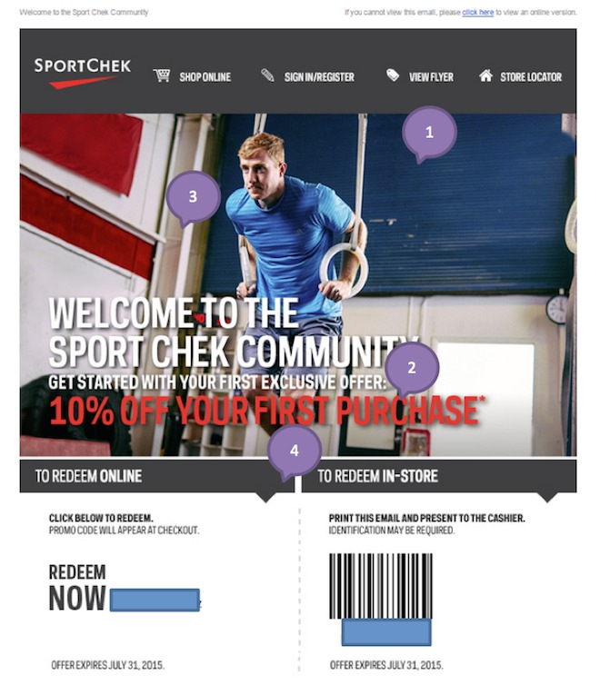 Eradium ecommerce email-marketing promotional discount -Sportcheck