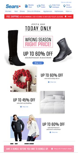 Eradium luxury email marketing Sears