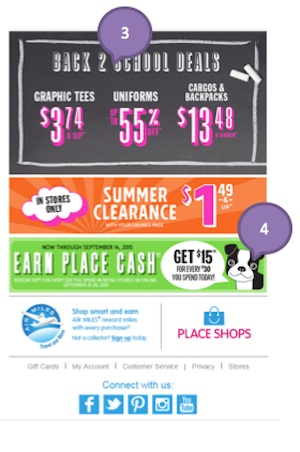 Eradium back-to-school email marketing Children's Place