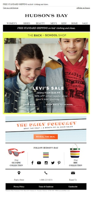 Eradium back-to-school email marketing Hudsons Bay