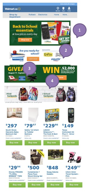 Eradium back-to-school email marketing Walmart