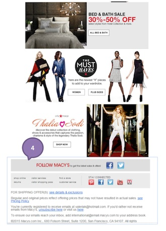 Eradium discount coupons in ecommerce email marketing Macys 2