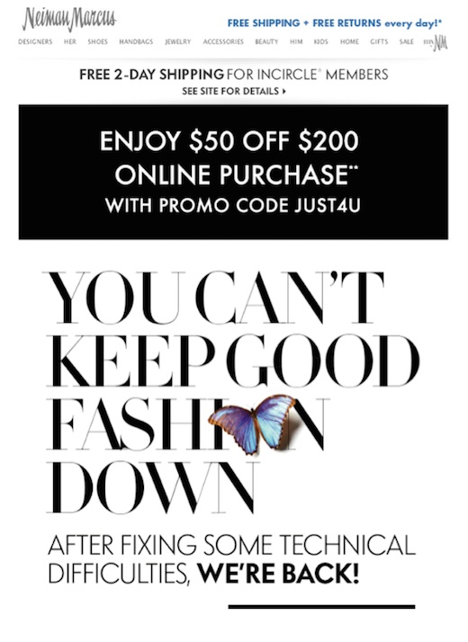 Eradium discount coupons in ecommerce email marketing Neiman Marcus