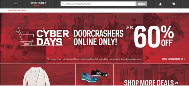 Eradium ecommerce review Sportchek home page desktop
