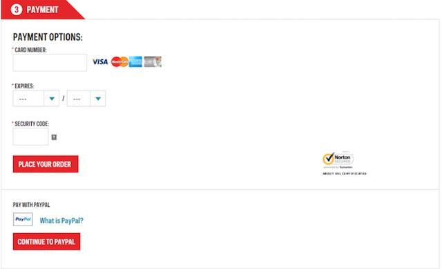 Eradium ecommerce review Sportchek payment method page desktop