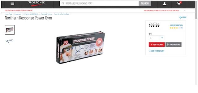 Eradium ecommerce review Sportchek price compare Power Gym sportchek