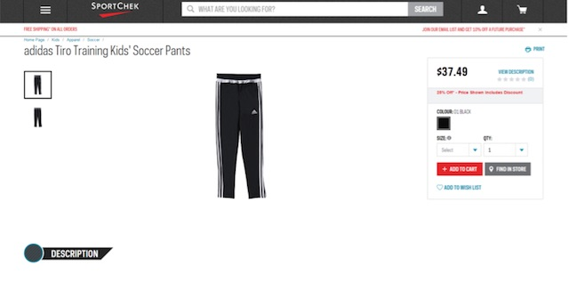 Eradium ecommerce review Sportchek product page desktop