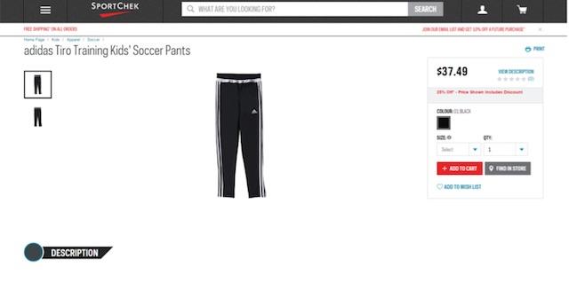 Eradium ecommerce review Sportchek product page desktop