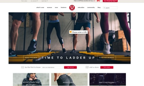 Eradium ecommerce review lululemon home page
