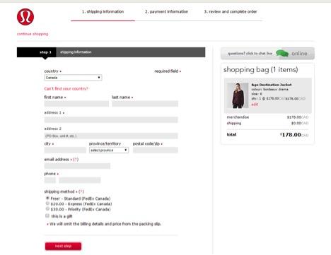 Eradium ecommerce review lululemon checkout