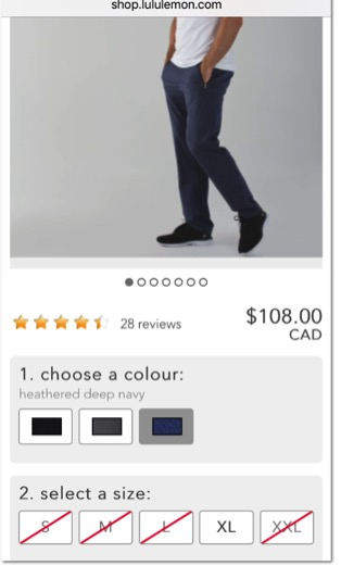 Eradium ecommerce review lululemon mobile product page