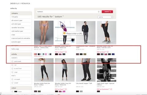Eradium ecommerce review lululemon search result