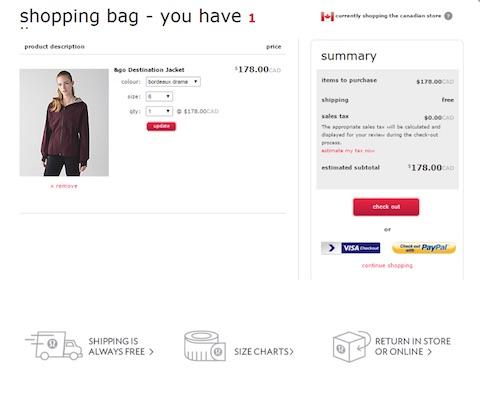 Eradium ecommerce review lululemon shopping bag