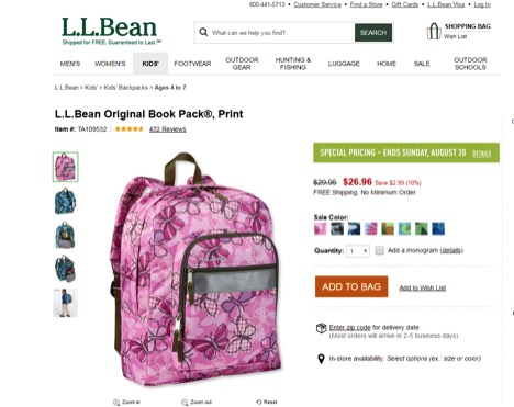 Eradium Retargeting LLBean Product retargeting