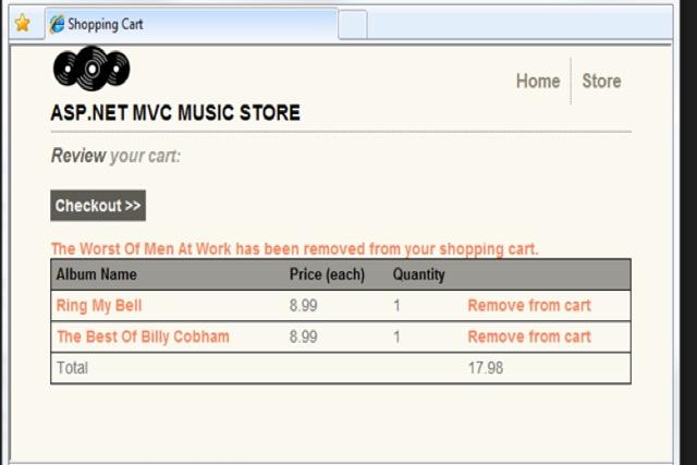 Eradium shopping cart blog MVC Music Store