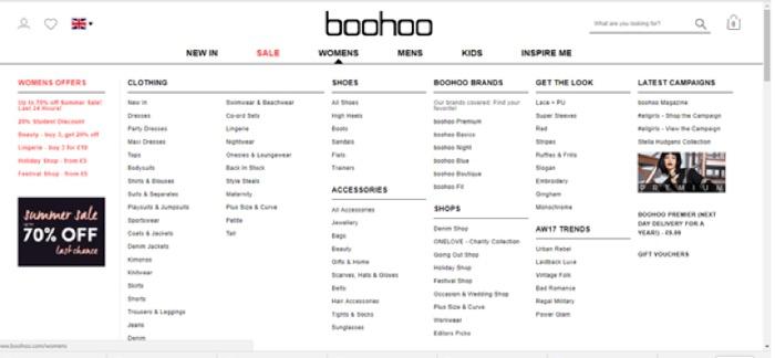 boohoo mega-menu