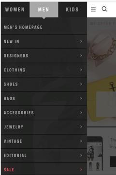 farfetch mobile menu
