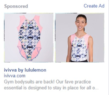 Facebook ad ivivva by lululemon
