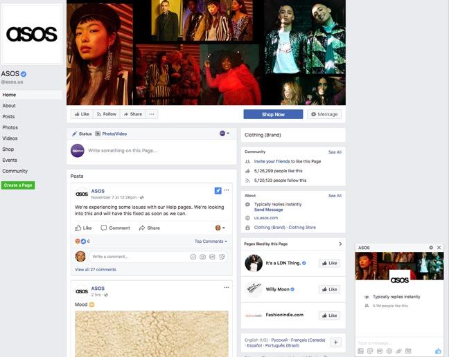 asos-facebook-page