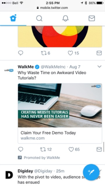 twitter WalkMe ad