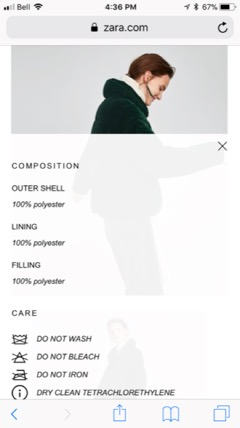 zara ecommerce mobile site