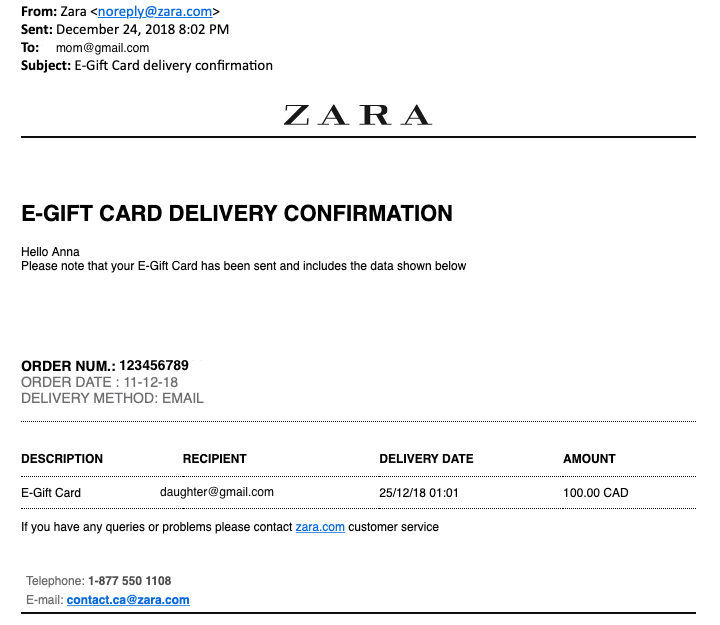 Zara-E-gift-card-confirmation