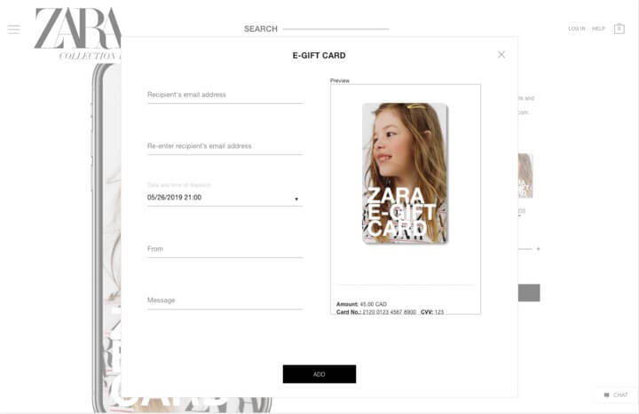 zara e-gift-card date selection